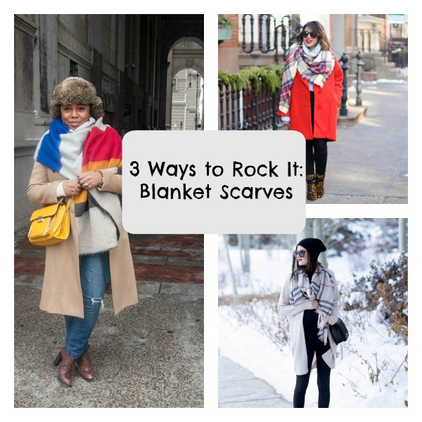 3 ways to rock it blanket scarves with text Collage
