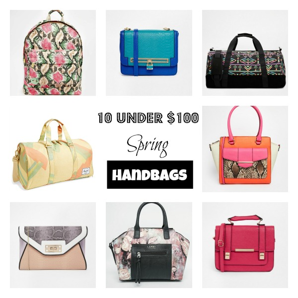 Spring handbags with text